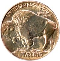 1913 Type I Buffalo Nickel, reverse