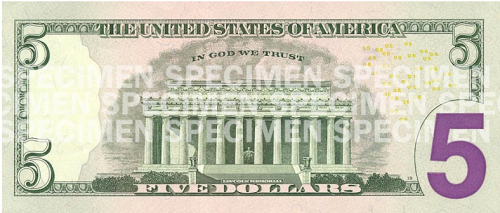 New five dollar bill (back)