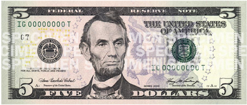 New five dollar bill (front)