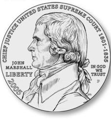 Obverse of Justice John Marshall Commemorative